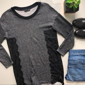 Zara Black And Grey Long Side Lace Sweater